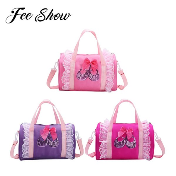 Kids Girls Cute Ballet Dance Bag with Shiny Sequins Ballet Shoes Duffle Bag Backpack School Travel Party Camping Hand