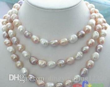 """Free shipping Hot sale new Style >>>>>NEW long 48 """"8-9mm baroque multicolor freshwater pearl necklace"""