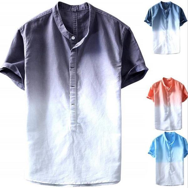 2019 Fashion Summer Herren coole Short Sleeves Shirt Sommer Baumwolle Leinen Slim Stehkragen Komfortable Shirts