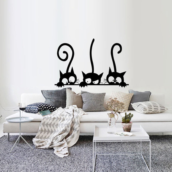 Three Cats Animal Stickers Cartoon Mural For Kids Rooms Nursery Bedroom Wallpaper Removable Wall Decals Art Home Decor