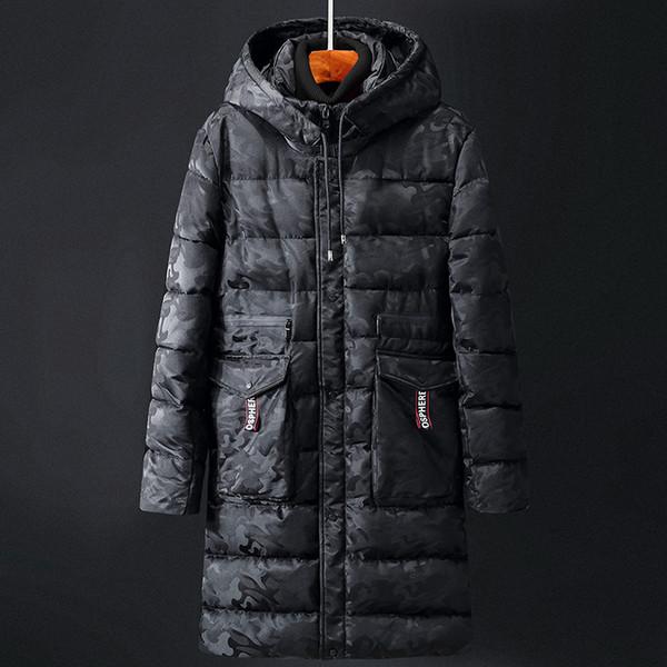 Camouflage Winter Men Parkas Casual Long Jacket Outwear Thicken Warm Hooded Outwear Coat Windproof Blue Deep Grey