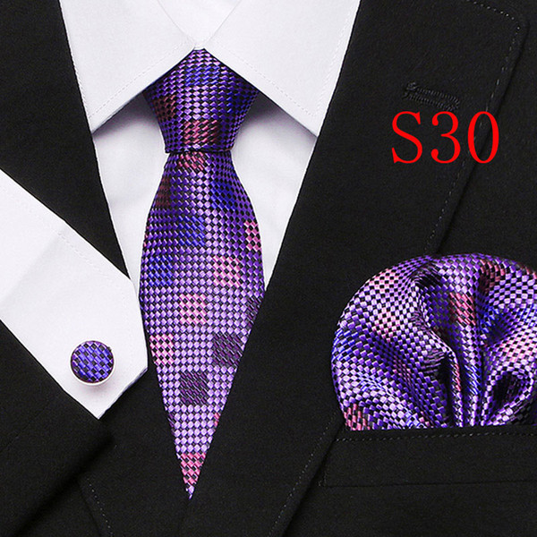 New Polyester Silk Classic Men Neck Ties Clip Hanky Cufflinks sets Floral brand Formal Wear Business Wedding Party Mens Tie 29