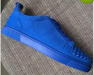 Yeni erkek bayan gloden sivri deri ile sivri burun deri kırmızı alt düşük üst ayakkabı, tasarımcı marka hakiki deri düz nedensel ayakkabı 18605