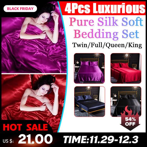 4Pcs Romantic Silk Bedding Set Soft Silk Satin Home Textile Bed Set Flat Sheet Fitted Sheet Pillowcase Twin/Full/Queen/King Size CJ191213