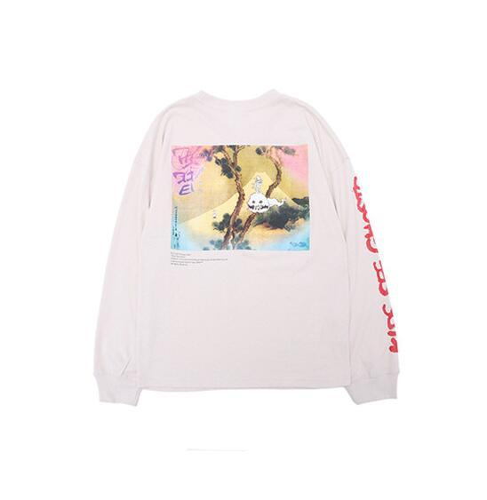 Kanye West Kids See Fantasmi Ink Painting Printed Pullover Mens Womens Casual maniche lunghe T-shirt Hip Hop High Street Designer Pullover