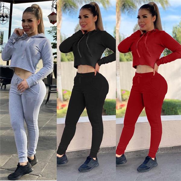 felpe sportive delle donne abiti pantaloni 2 pezzo casuale tuta felpe vestito jogger set pullover tuta autunno inverno capris DHL 2311