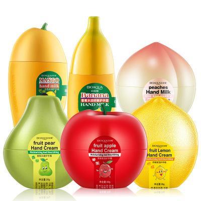 BIOAQUA Fruit Cute Milk Peaches Banane Mango Feuchtigkeitsspendende Feuchtigkeitsspendende Handcreme für die Körperpflege im Winter