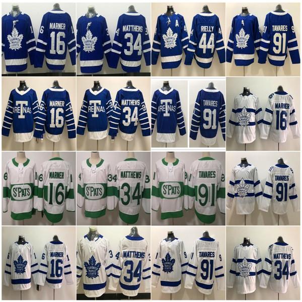 2019 St. Pats Herren Toronto Maple Leafs # 34 Auston Matthews 16 Mitch Marner 29 William Nylander 91 John Tavares Ein Patch Hockey Jersey