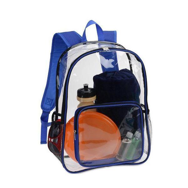 Fashion Transparent Pvc Women Blue Clear Backpack Waterproof Backpack Design Beach Bag For Teenage Girls School Travel Bag