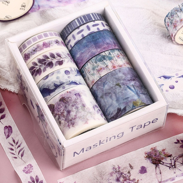 best selling New 10 Pcs Box Fantasy Ocean Beautiful flowers plants Leaves washi tape diy decoration for scrapbooking masking tape adhesive tape 2016