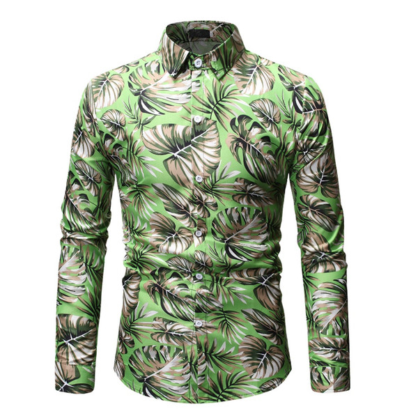 2019 New Arrival Mens Shirt Palm Leaf Printed Beach Hawaiian Shirt Men Casual Long Sleeve Floral Shirts Chemise Homme Plus Size