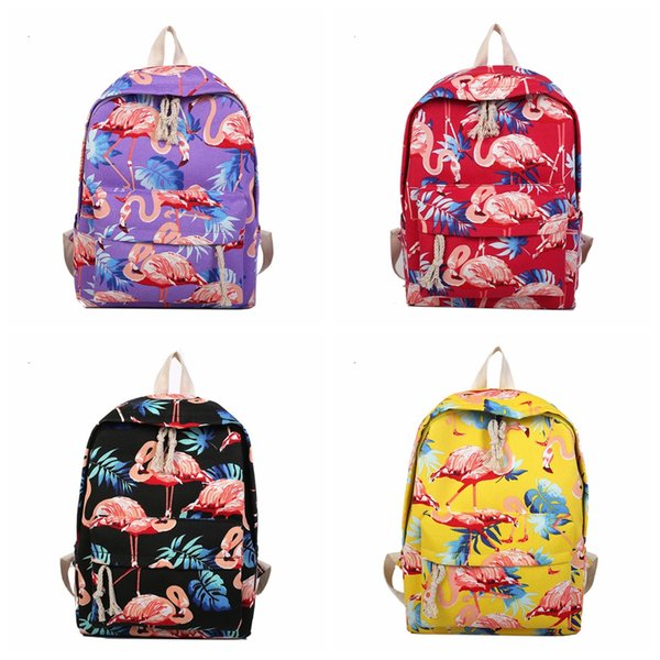 Flamingo Pattern Perilla Backpack prited Women Cute Female Travel Daily Laptop Knapsack Canvas shouldersTeenage Girls school bag AAA1811