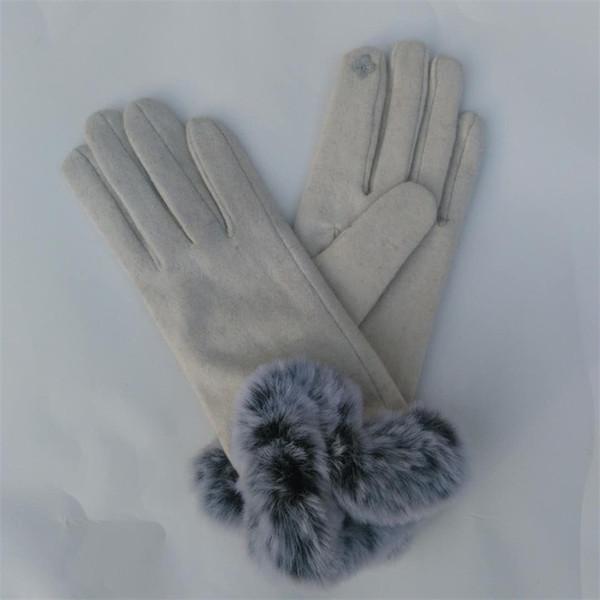 Mode hiver gants femmes imitation fourrure épaississement des gants pour garder au chaud faux faux cheveux de lapin dames gants plus long paragraphe