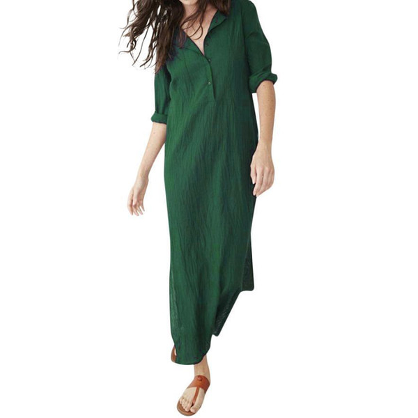 Women Vintage Casual Dress Robe Femme Full Sleeve Linen Solid Button Baggy Ladies Dresses Vestido Largo Verano Mujer