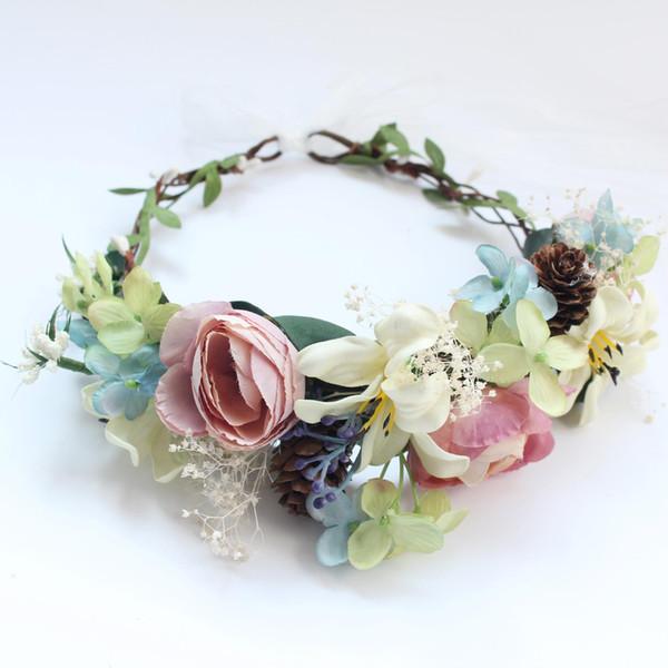 Gelin Headdress Mori Pineal Dantel Düğün Fotoğraf Taç Ebedi Çiçek Tomurcuk Yüzük Aksesuarları