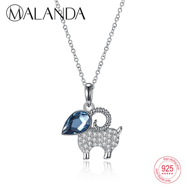 wholesale 925 Sterling Silver Cute Sheep Shape Necklaces Water Drop Crystal From Swarovski Pendants Necklaces For Women Jewelry