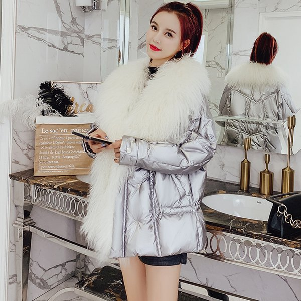 Natural Wool Large Fur Collar White Duck Down Jacket Women Winter Coat 2019 Glossy Puffer Jackets And Coats For Female Parkas