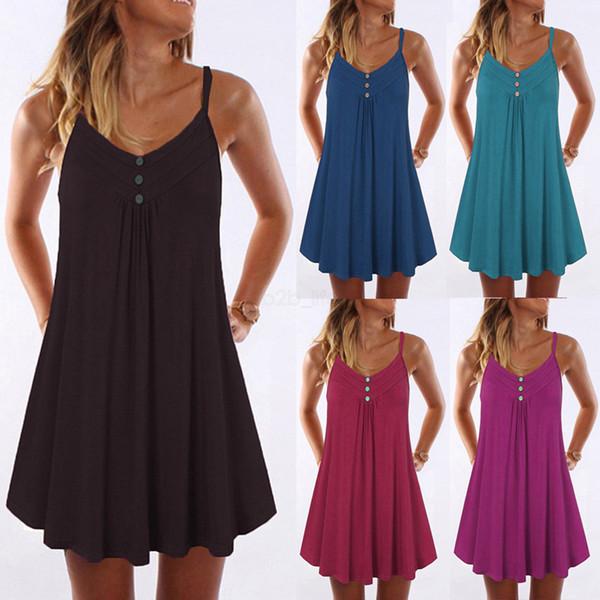 women beach dresses Slip sleeveless Dress Pleat clothes plus size 5X Pure color Sexy Plain sundress v neck button clothing LJJA2498