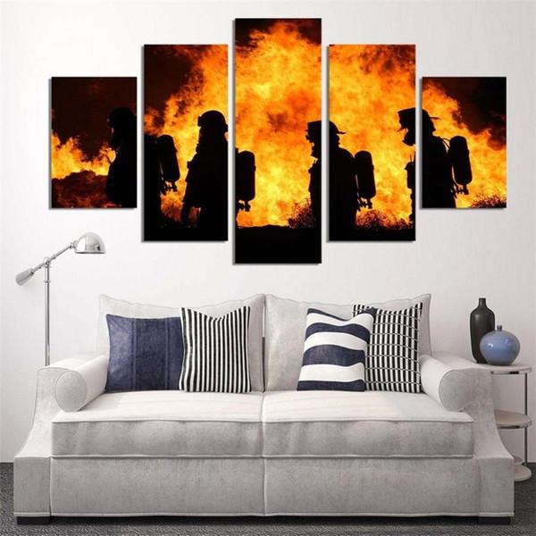 Bombero, 5 pièces décor à la maison imprimé HD art moderne peinture sur toile (sans cadre / encadré)