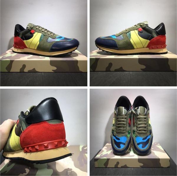 New fashion stud camouflage sneakers scarpe calzature uomo, donna appartamenti designer di lusso rockrunner scarpe da ginnastica scarpe casual a030