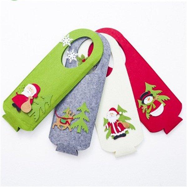 Arbre de Noël Vente en gros pliant Sac cadeau Felt Red Deer bouteille de vin manches couverture Cartoon Père Noël Porte avec poignée 7 2xb H1