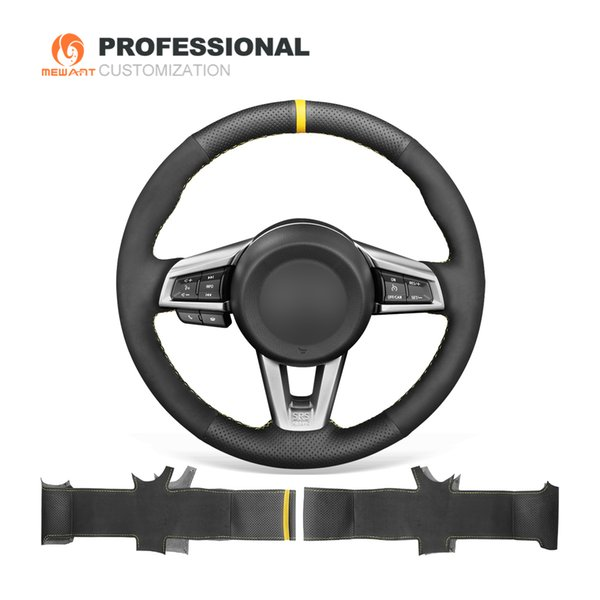 MEWANT Black Suede Genuine Leather Hand Sew Car Steering Wheel Cover for Mazda MX-5 2016 2017 2018 2019