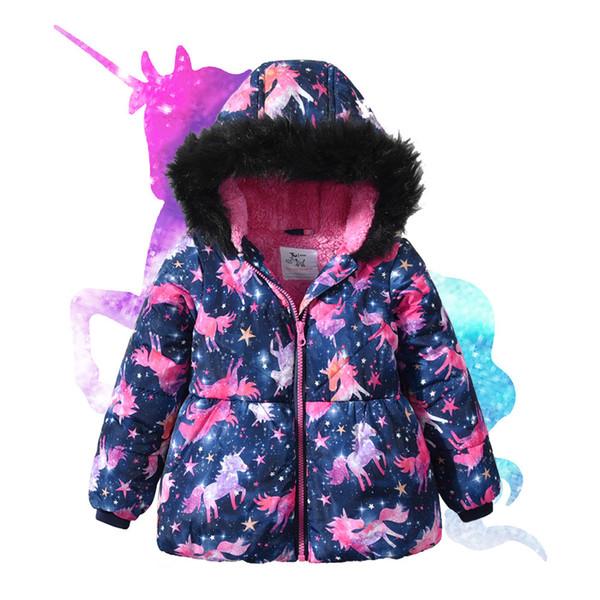 Bebek Kız Kış Mont Su Geçirmez Kürk Hoodie Yaka Ceket 2019 Çocuk Giysileri Sıcak Kalınlaşmak Polar Giyim çocuk Parkas