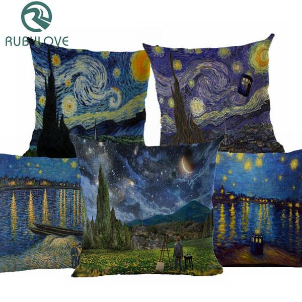 Van Gogh Pintura A Óleo Estilo de Algodão De Linho Capa de Almofada 45x45 cm Fronha Para O Sofá Do Carro Cadeira de Presente Cojines
