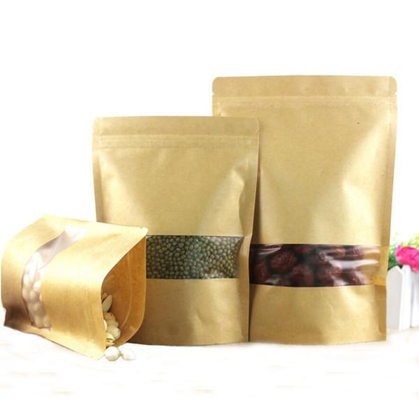 100 개 크래프트 종이 봉투 우편 상자 스탠드 재사용 가능한 씰링 식품 파우치 매트 창 및 눈물 노치