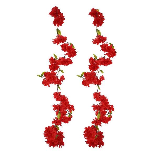 Fleur de cerisier artificiel vigne rouge pétale de fleur Plantes toujours Garland pour Art Décoration Mariage Party Bureau Garden 2 Pac