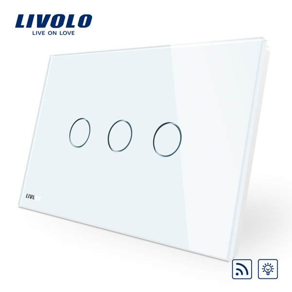 Livolo AU/US standard, Wireless Switch ,White Glass Panel Touch Screen, Dimmer and Remote Home Wall Light Switch