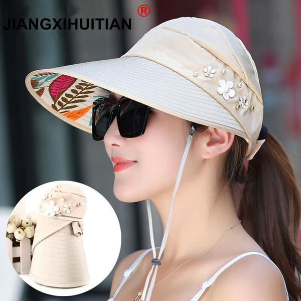 2018 Hot 1pcs Women Summer Hats Pearl Packable Sun Visor With Big Heads Wide Brim Beach Hat Uv Protection Female Cap C19041001