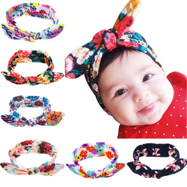 Baby Headbands Kids Bow Knotted Hair Band Elastic Rabbit Ears Flower Printed Bottom Photography Hairband Props 61