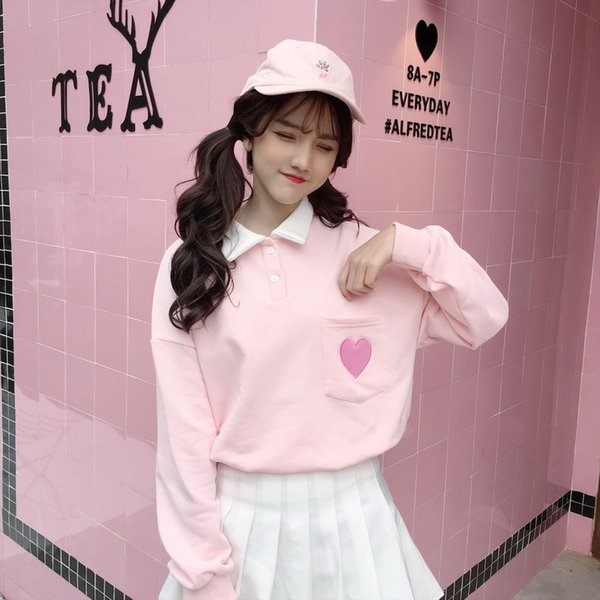 Harajuku Fashion Cute Love Embroidery Women Hoodies Sweet Lapel Cotton Student Sweatshirt Collar Loose Women Pullovers