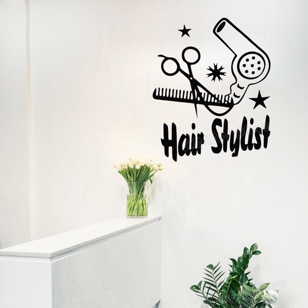 Hair Salon Stylist Scissors Self Adhesive Vinyl Wall Stickers For  Barbershop Modern Wall Decals Bedroom Pattern Sticker Bedroom Wall Stickers  For ...