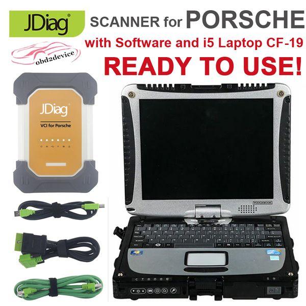 JDiag VCI Scanner for PORSCHE with I5 Laptop CF-19 Car Diagnostic Tool for Porsche J2534 Code Reader & ECU Programmer with CF19