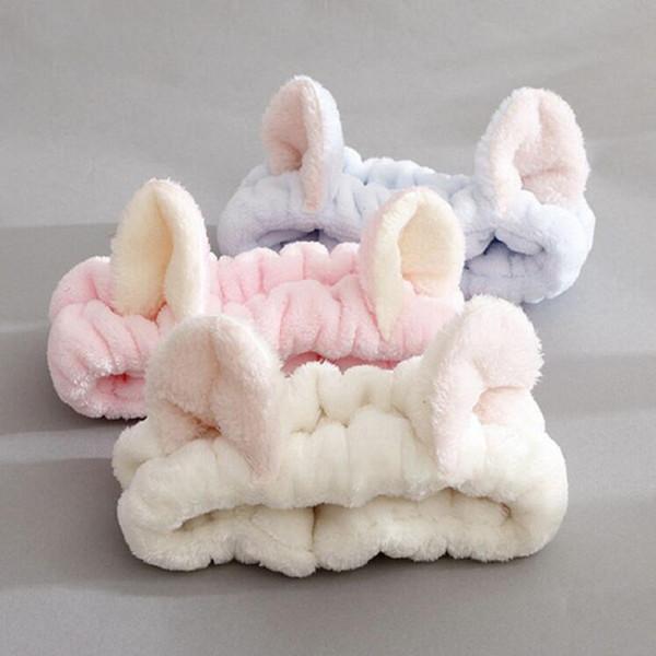 Las orejas de gato lindo elásticas más cálidas vendas del pelo de las mujeres de baño maquillaje de la cara de lavado facial máscara de la venda de Headwrap lazos del pelo de chica