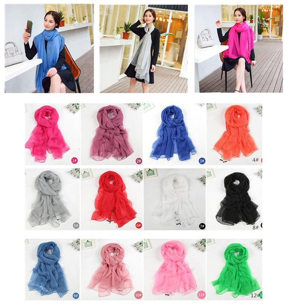 Women solid color scarves large size beach towel pashmina major suit ice silk chiffon sunscreen shawl wedding gifts free ship