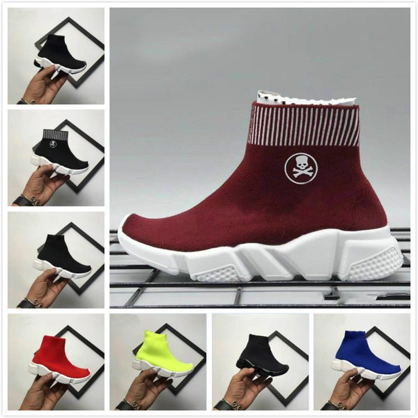 2019 Baby Speed Socks High Quality Speed Trainer Running Shoes Speed stretch-knit Mid Sneakers 28-35