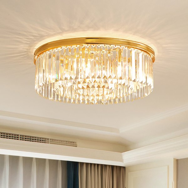 New modern crystal ceiling chandelier lamp gold luxury flush mount crystal chandeliers lighting for bedroom living room decoration