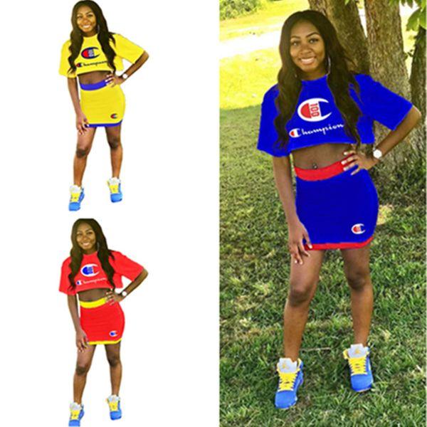 Damen Designer Kleid Crop T Shirt Top Rock Zweiteiler Champion Trainingsanzug Marke Outfit Sportswear Body Street Party Club Anzug C61101