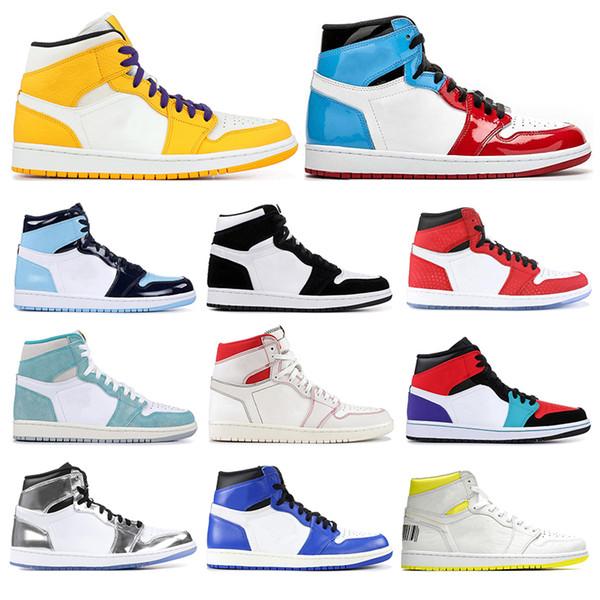 Hosale men women basketball shoes 1s Obsidian Fearless UNC Yellow SATIN SHATTERED BACKBOARD KAWHI LEONARD mens sports sneakers size 5.5-12