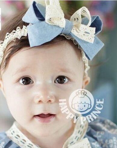 Fascia per capelli con fiocco in pizzo per accessori per capelli per bambina