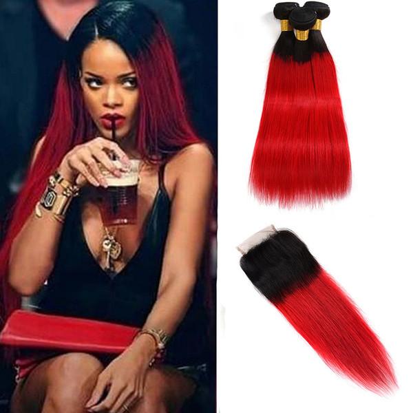 Malaysisches Jungfrau-Haar 1B / rotes gerades 3 Bündel mit 4X4 Spitze-Schließungs-Babyhaar-Verlängerungs-Haar wirft 12-24