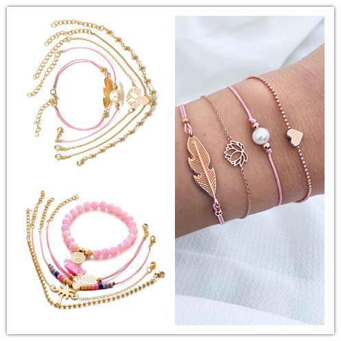 Vintage Bohemian Women Bracelet Set regolabile lega ragazza cuore forma foglia fiore perla braccialetti polsino gioielli regalo di compleanno