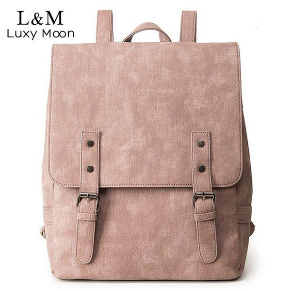 girls Backpack Large School Bags For Teenage Girls Shoulder Bag Vintage PU Leather Backpacks Black Casual Solid Rucksack XA83H