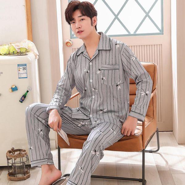 2019 Primavera Outono Casuais Listrado Conjuntos de Pijama de algodão para Homens Pijama de Manga Longa Sleepwear Masculino Homewear Loungewear Roupas Em Casa