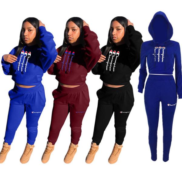 Campeão Designer de Fatos de Treino Das Mulheres Crop tops + Calças de bolso Leggings Duas Peças Terno Esportes Longo SLeeve Roupas Roupas de Hip Hop C8504
