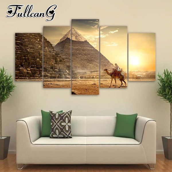 wholesale 5pcs diy diamond painting egyptian landscape full square/round drill 5d mosaic embroidery multi-picture decor FC694