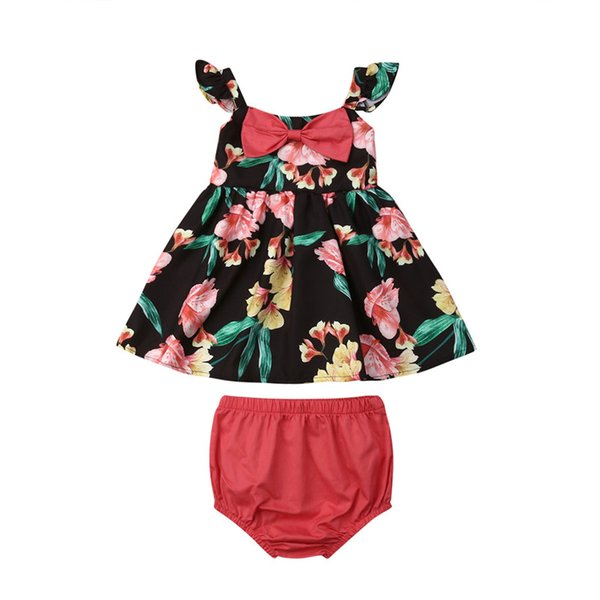 0-18M Newborn Toddler Baby Girl Clothes Set Flower Bow Tops Vest Skirt Shorts Panties 2PCS Outfit Sunsuit